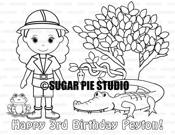 Personalized Printable Safari Jungle Girl Birthday Party Favor childrens kids coloring page book activity PDF or JPEG file
