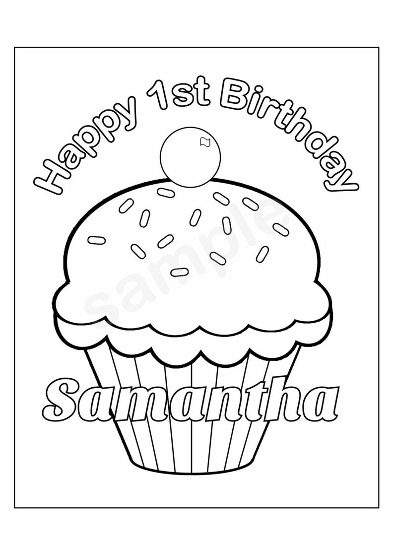 Personalized Printable Birthday Cupcake cup cake Party Favor childrens kids coloring page book activity PDF or JPEG file