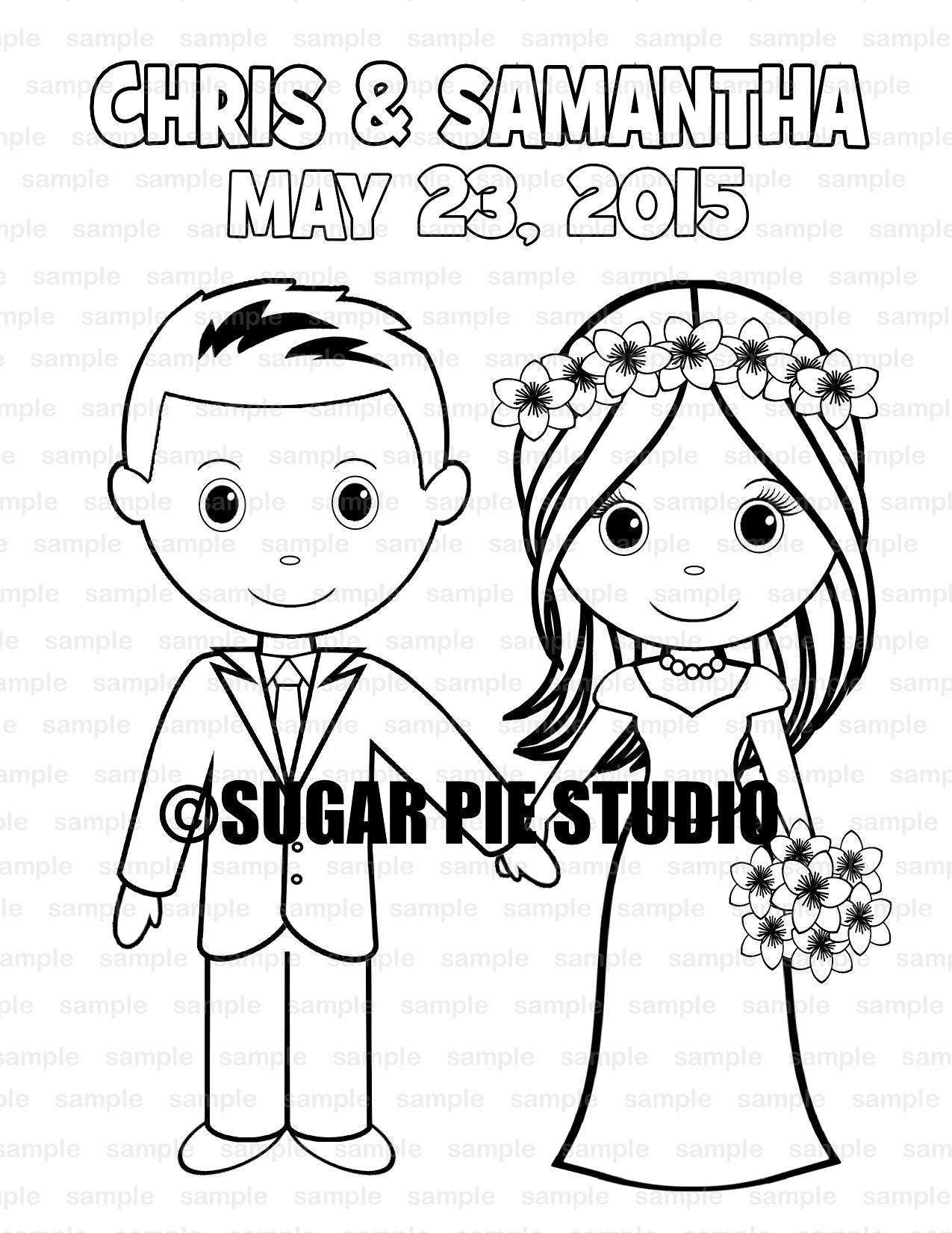 Wedding coloring book activity Favor Kids 8.5 x 11 PDF or | Etsy