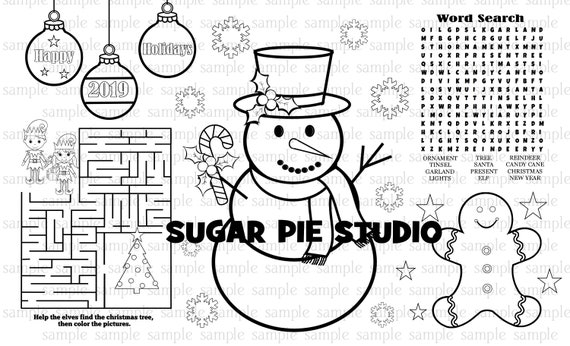 Christmas Snowman Coloring placemat PDF and JPEG available