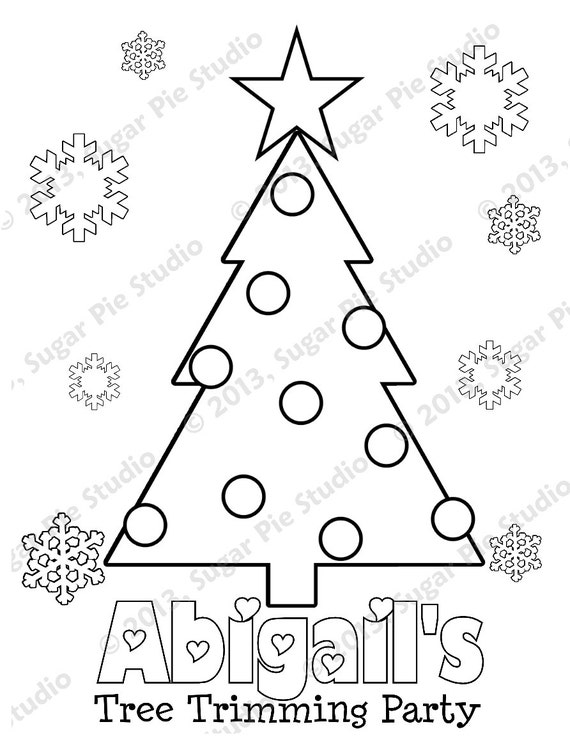 Personalized Printable Holiday Christmas Winter Party Favor childrens kids coloring page activity PDF or JPEG file