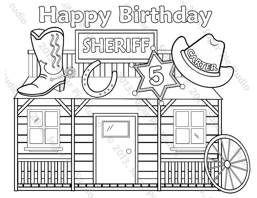 Personalizada imprimible Sheriff vaquero vaquera cumpleaños