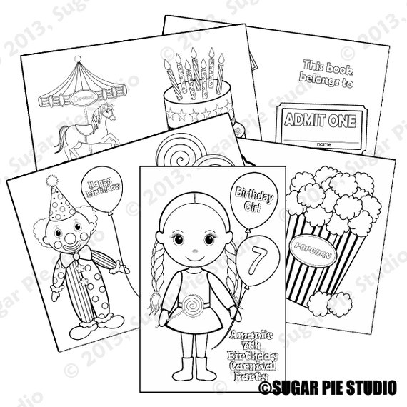 Carnival coloring activity goody bags PDF or JPEG TEMPLATE Printable Personalized Custom Favor Kids