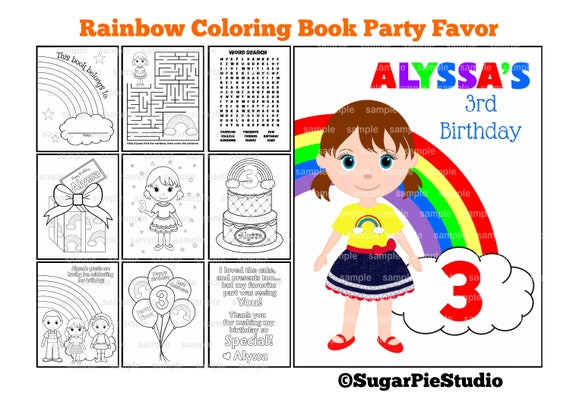Rainbow Birthday coloring book Party Favor Kids coloring activity book PDF or JPEG TEMPLATE