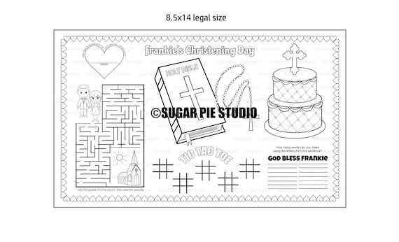 Christening Bapstism coloring Page placemat 8.5x14 Childrens coloring page activity PDF or JPEG file