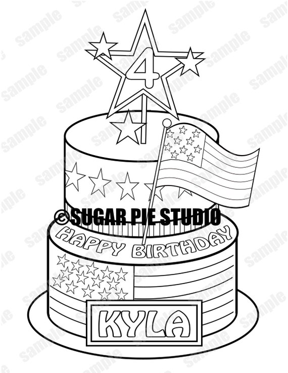Patriotic 4th of july birthday coloring activity page PDF or JPEG TEMPLATE Printable Personalized Favor Kids