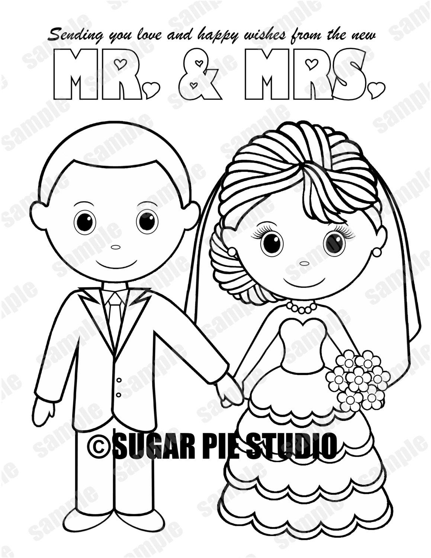 INSTANT DOWNLOAD Printable Bride Groom Wedding coloring page ...