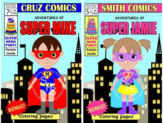 Printable 8.5x5.5  Multiple page Comic Book Birthday Invitation Custom Personalized Digital File, DIY