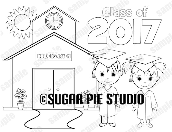 Printable Kindergarten Graduation ANY YEAR favor Kids coloring page