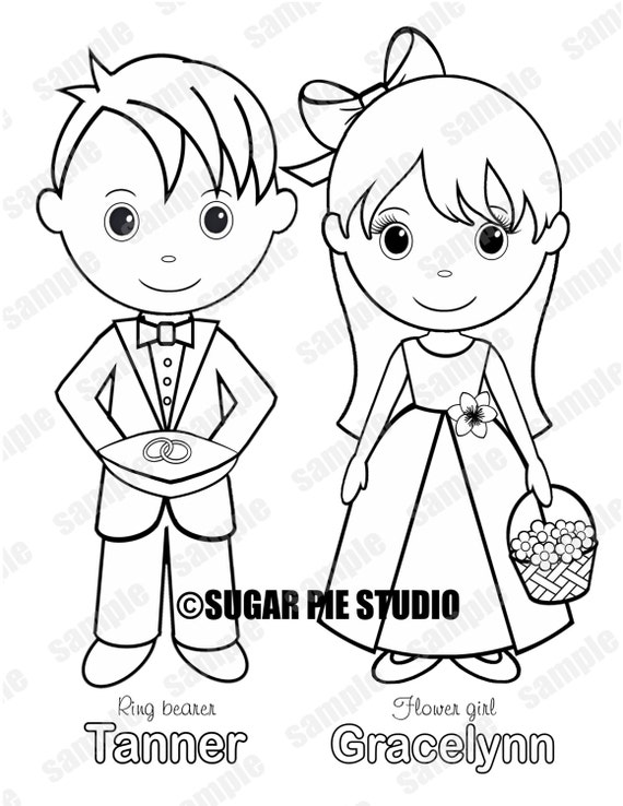 Personalized Printable Flower girl  Ring bearer Wedding Party Favor childrens kids coloring page book activity PDF or JPEG file