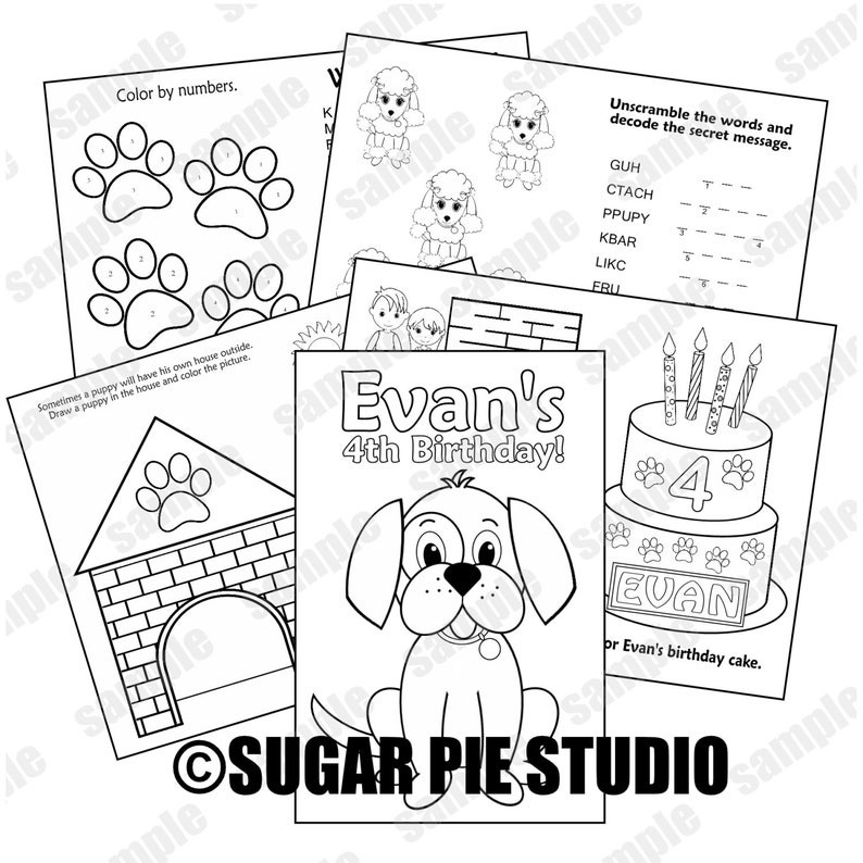 Puppy dog coloring book Printable Personalized Puppy dog Favor Kids  coloring activity book PDF or JPEG TEMPLATE