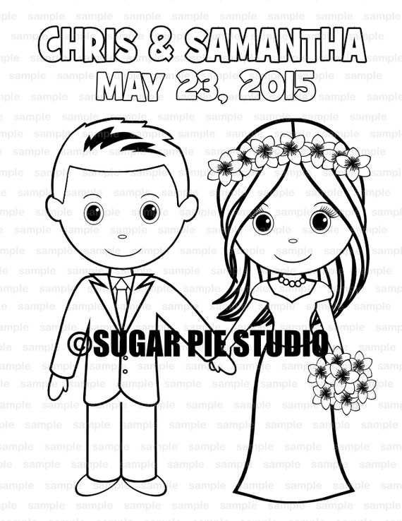 Wedding coloring page activity Personalized Printable PDF or JPEG file