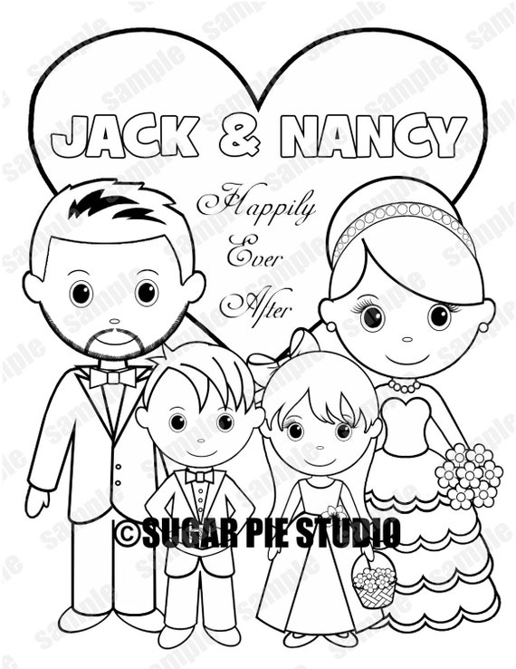 Personalized Childrens Wedding coloring activity book flower girl ring bearer Favor Kids 8.5 x 11  Printable PDF or JPEG TEMPLATE
