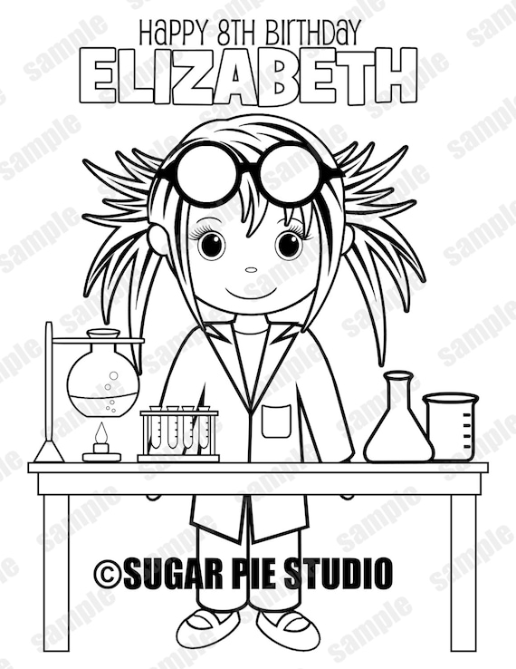 Mad Scientist Science Coloring Page Birthday Party Favor Etsy