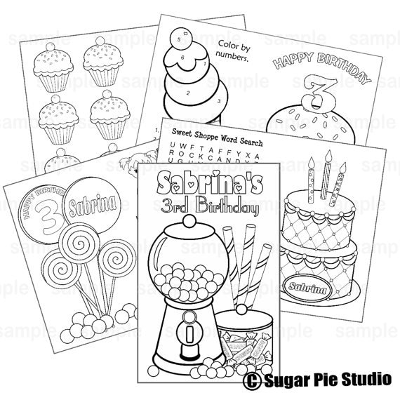Sweet Shoppe coloring activity book goody bags PDF or JPEG TEMPLATE Printable Personalized Custom Candy Favor Kids