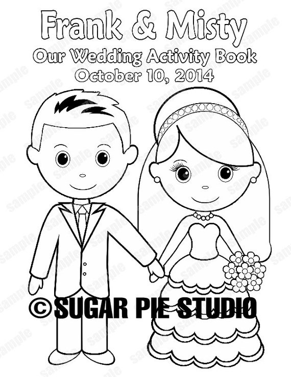Wedding coloring book activity book Printable Personalized Favor Kids 8.5 x 11  PDF or JPEG TEMPLATE