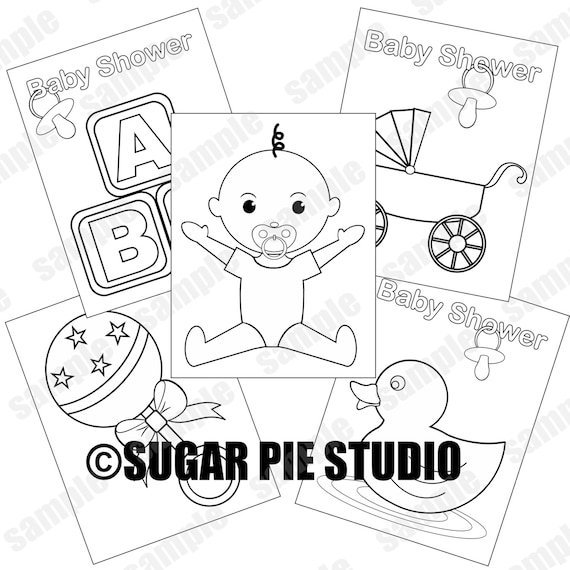 Baby shower coloring pages Neutral baby boy party favor kids table JPEG and PDF available instant download