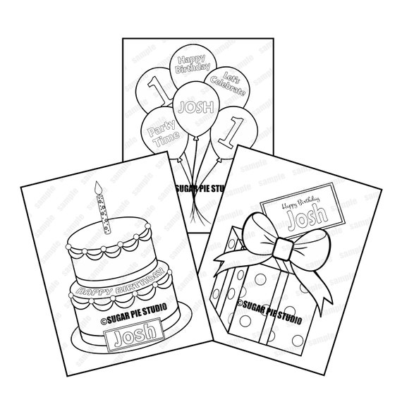 3 pack Personalized Printable Cake present balloons Birthday Party Favor childrens kids coloring pages activity PDF or JPEG file