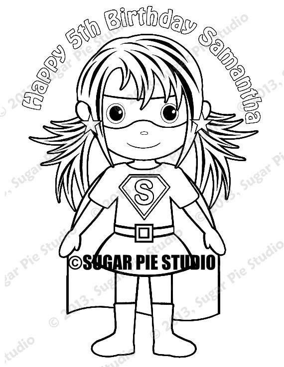Personalized Printable Superhero Girl Birthday Party Favor Etsy