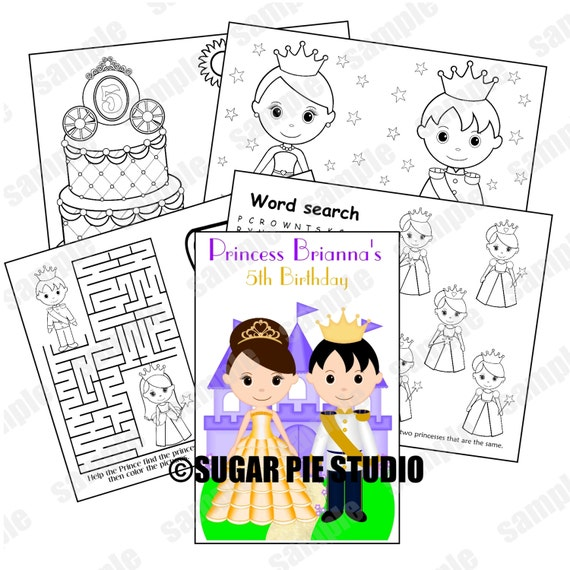 - Princess Coloring Book Printable Personalized Favor Kids Etsy