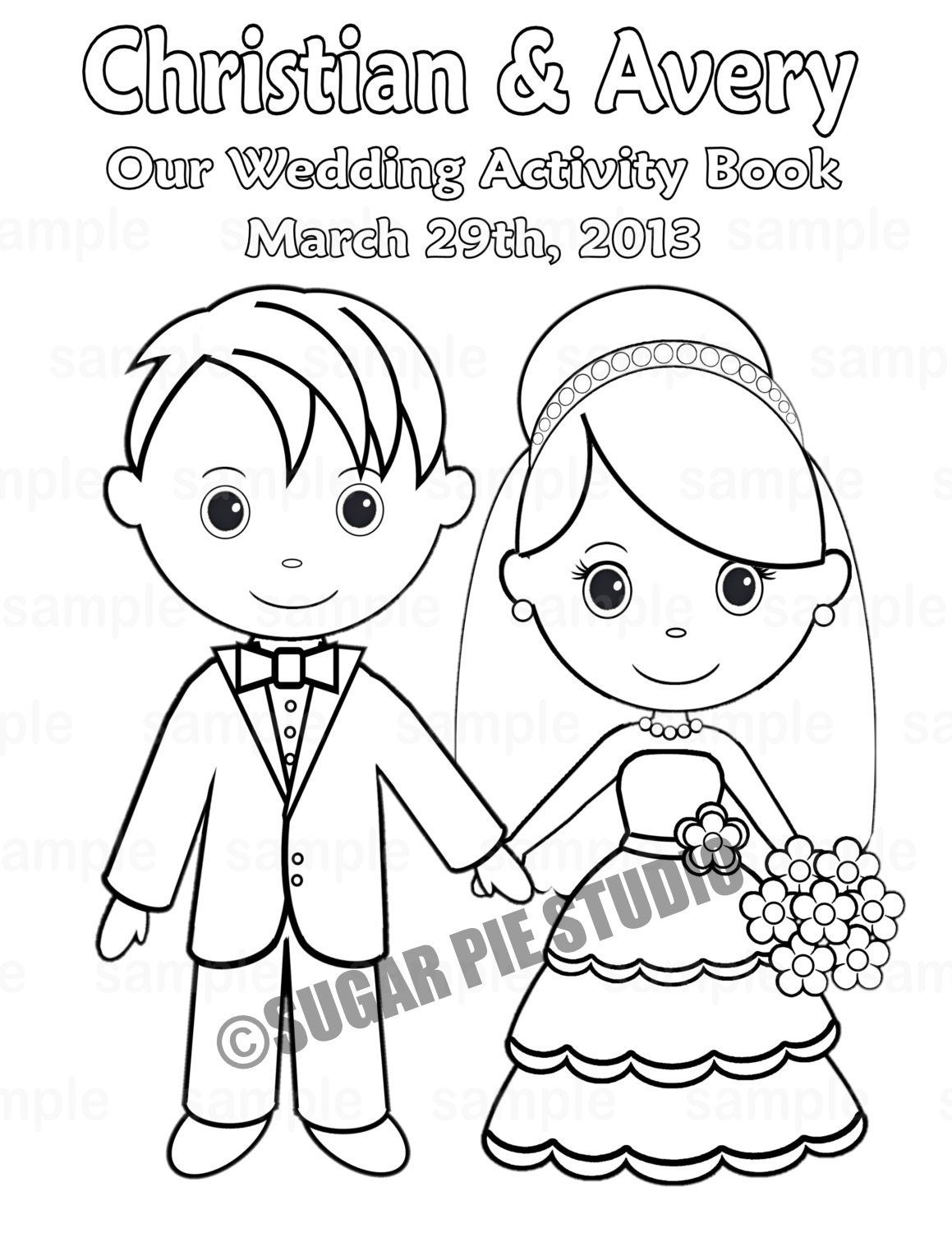 Printable Personalized Wedding coloring activity book ...