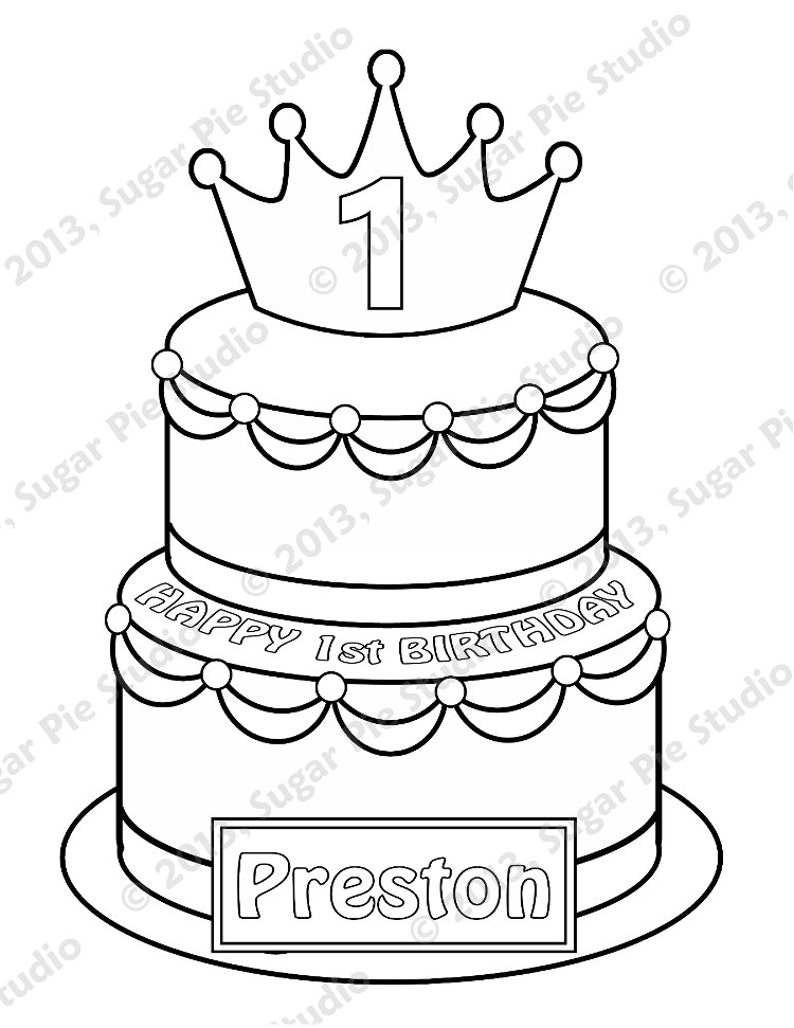 Personalized Printable Birthday Cake Prince Princess Party