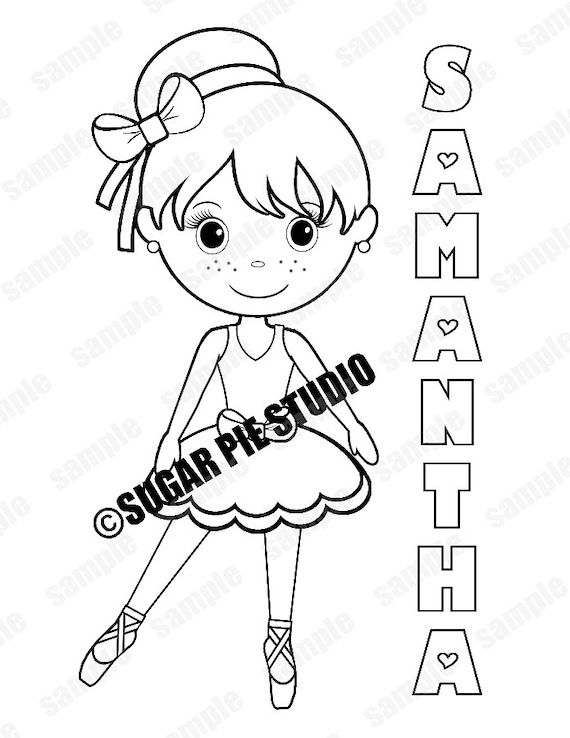 Personalized Printable Ballerina Dance Birthday Party Favor childrens kids  coloring page activity PDF or JPEG file