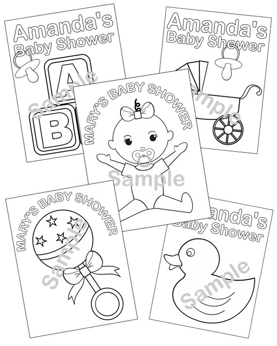 5 Personalized Printable Baby Shower Favor childrens kids coloring page activity PDF or JPEG file