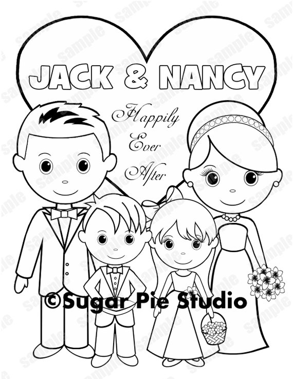 Personalized Printable Bride Groom  flower girl ring bearer Wedding Party Favor childrens kids coloring page activity PDF or JPEG file