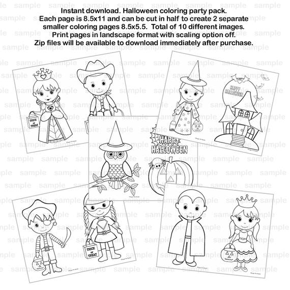 Halloween Coloring party pack or kids Birthday Party Favor childrens kids coloring pages activity Pdf or Jpeg INSTANT DOWNLOAD
