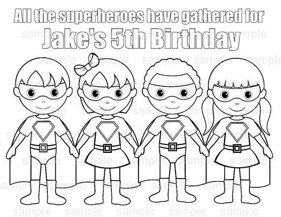 Personalized Printable Superhero Boy Girl Group Birthday Party Favor Childrens Kids Coloring Page Book Activity Pdf Or Jpeg File