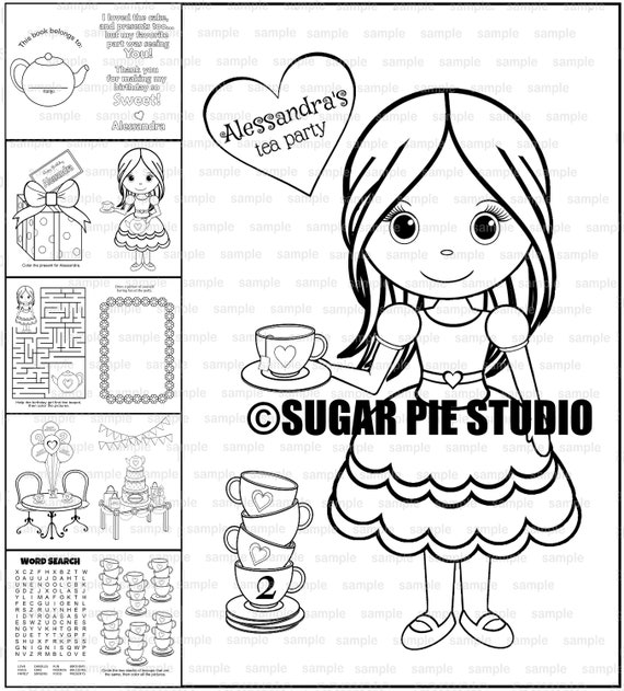 Tea party coloring book Birthday Favor Printable template PDF or JPEG