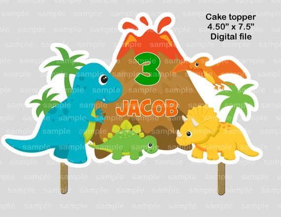 Dinosaur Dino personalized Cake topper or Centerpiece PDF or JPEG