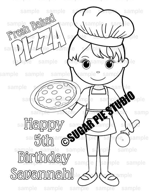 Chef pizza coloring page birthday party favor activity PDF or JPEG file