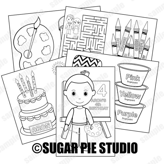 Art party coloring activity book PDF or JPEG TEMPLATE Printable Personalized Custom 8.5x 5.5 arts art and craft party Favor Kids