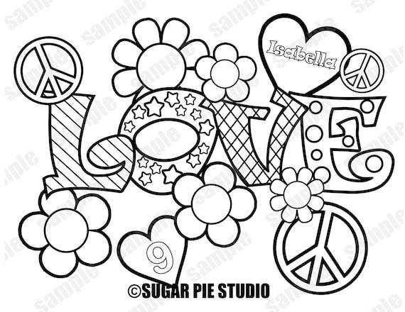Paz amor para colorear página actividad Favor fiesta de | Etsy