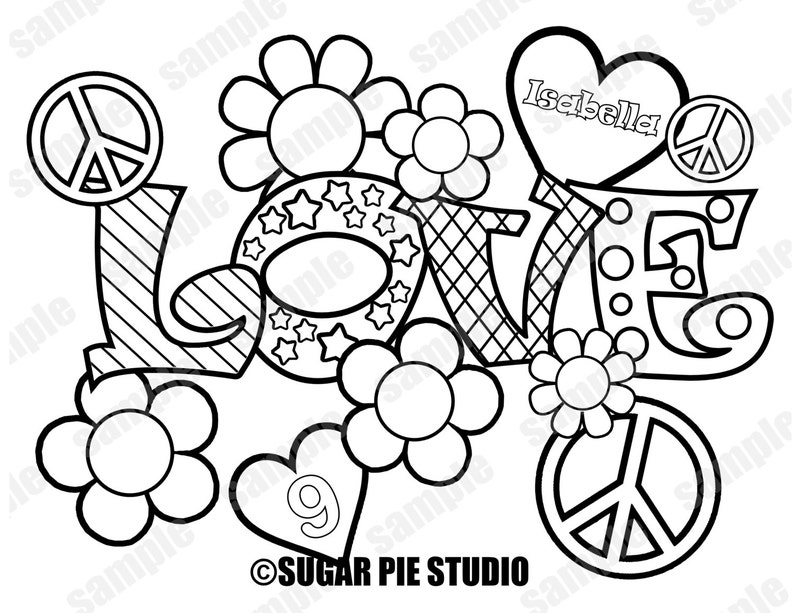 Peace Love Coloring Page Activity Birthday Party Favor Etsy
