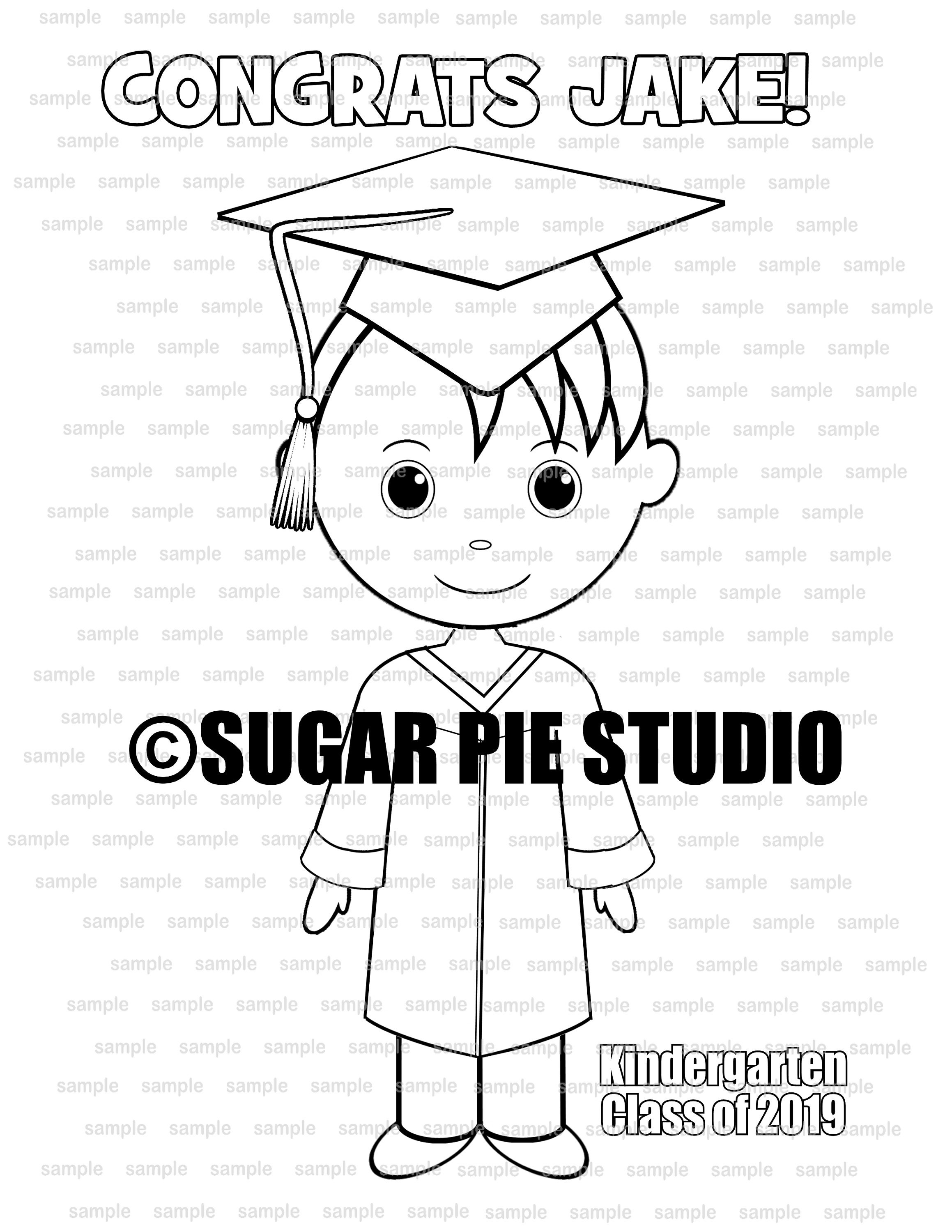 Graduation coloring page party favor or classroom party ...