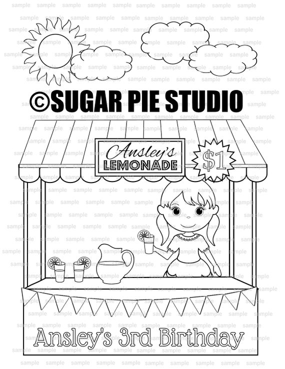 Lemonade stand coloring page birthday party favor activity PDF or JPEG file