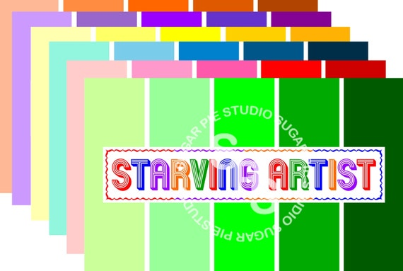 Printable Starving Artist Paint chip inspired birthday party placemat 8.5x14 DIY JPEG or PDF Instant download
