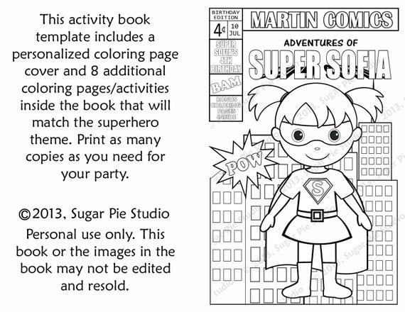 Printable Personalized Custom 8.5x 5.5 Superhero Favor Kids coloring activity comic book PDF or JPEG TEMPLATE
