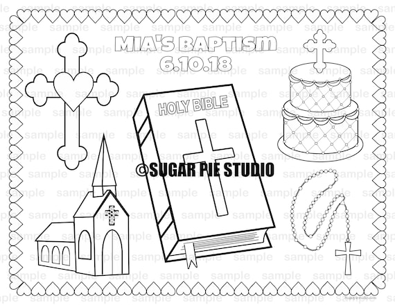 Christening Bapstism coloring Page placemat 8.5x11 Childrens coloring page activity PDF or JPEG file