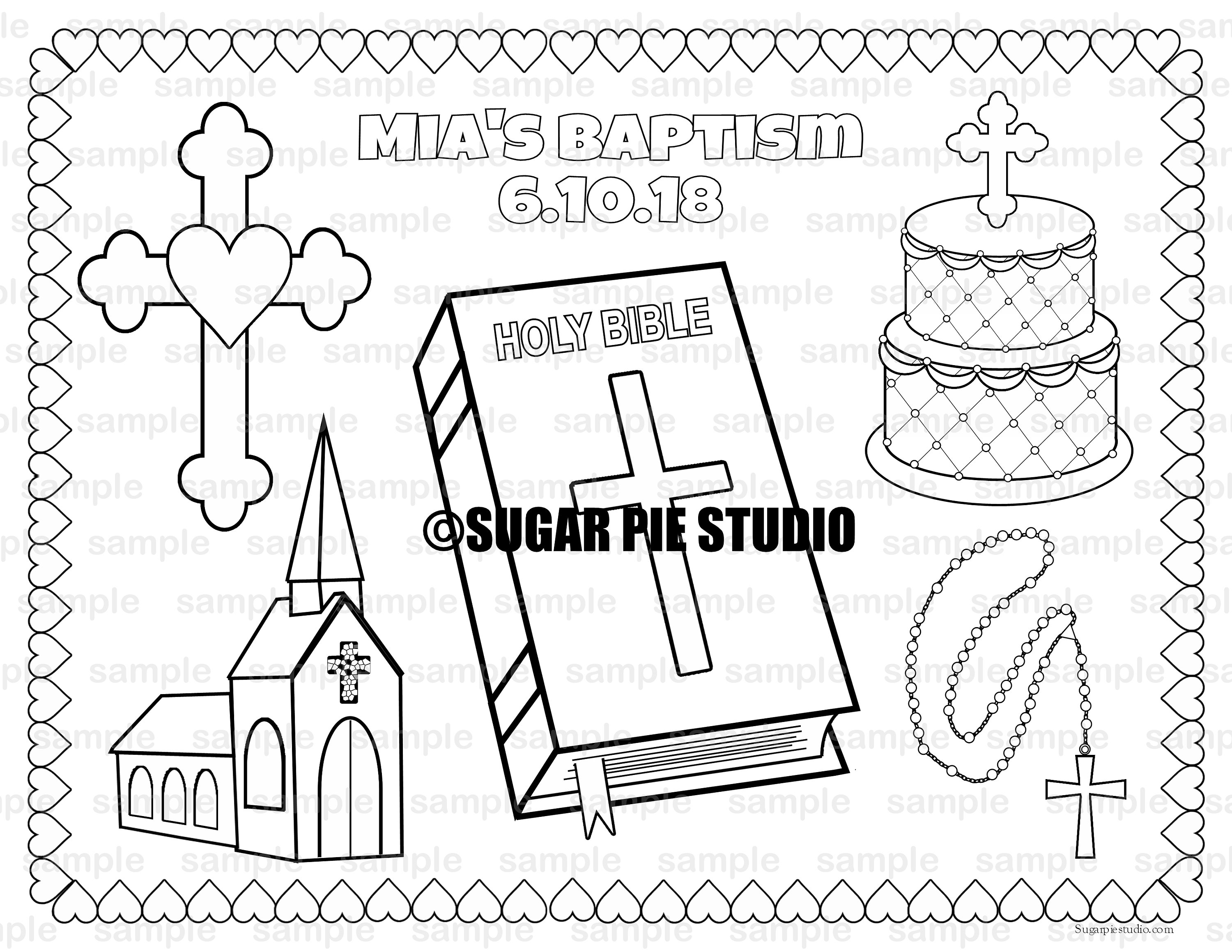 Christening Bapstism coloring Page placemat 8.5x11 Childrens ...