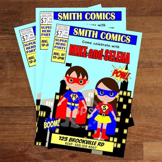Printable 5x7 twins Comic Book Birthday Invitation Custom Personalized Digital File, DIY