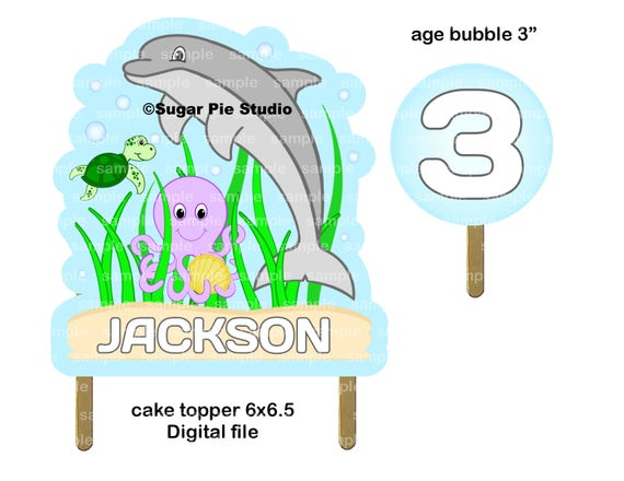 Under the sea personalized Cake topper or Centerpiece PDF or JPEG