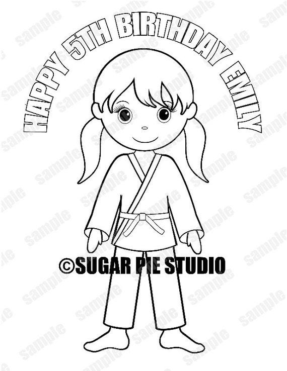 Favor de Karate personalizada para colorear página cumpleaños | Etsy