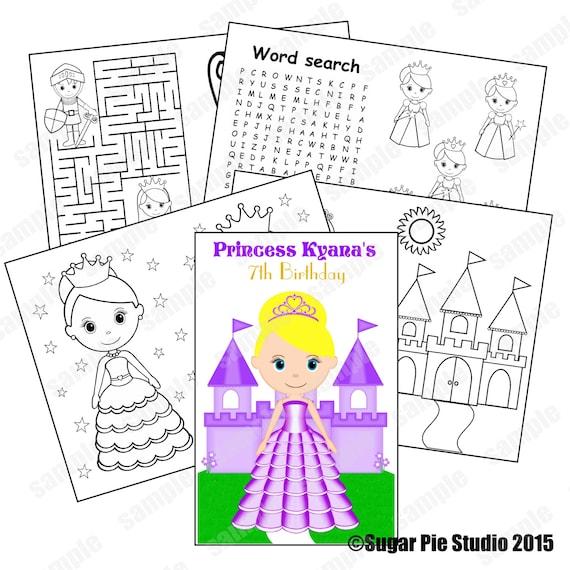 Printable Personalized Custom 8.5x 5.5 Princess Favor Kids coloring activity book PDF or JPEG TEMPLATE