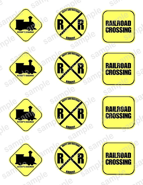 Personalized RAILROAD Train  Printable Favor tags / cupcake toppers Digital File