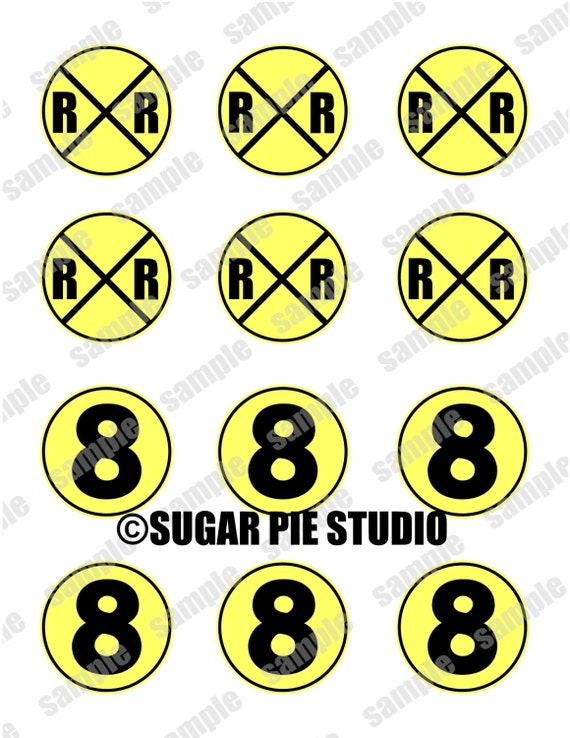 Instant download RAILROAD AGE 8 EIGHT Train  2 inch Printable Favor tags / cupcake toppers Digital File