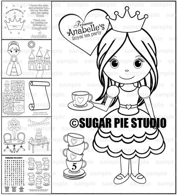 Princess tea party coloring book Favor Printable template PDF or JPEG